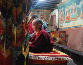 In a Buddhist temple in Nepal