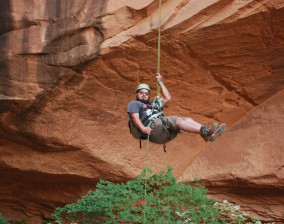 Rappelling from arch!