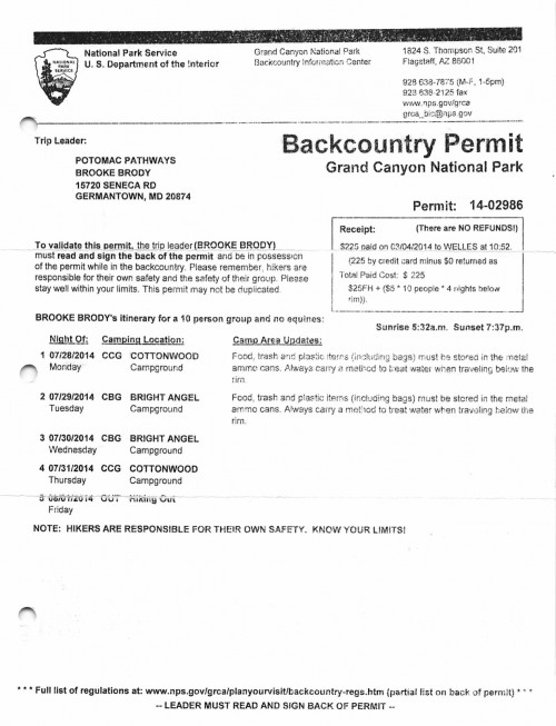 Backcountry permit